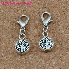 10Pcs Antique Silver Tree of Life Charm Bead with Lobster clasp