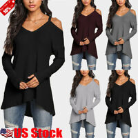 Women Long Sleeve Jumper Pullover Cold Shoulder Blouse Sweater Tunic Top T-Shirt