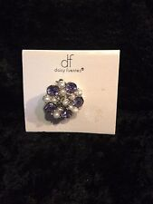 Daisy Fuentes Purple & faux Pearl Brooch Pin NEW