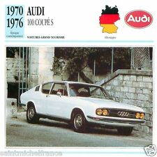 AUDI 100 COUPE S 1970 1976 CAR VOITURE GERMANY ALLEMAGNE CARTE CARD FICHE