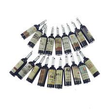 Black&Silver Color Resin Wine Bottle Shape Crafts Pendant Charms Jewelry 18pcs