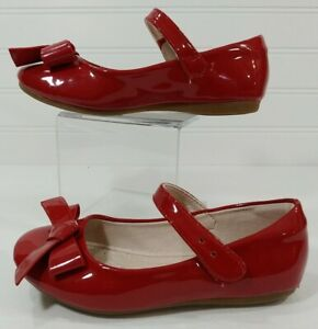 Aohan Girls 11M EU28 Patent Leather RED Mary Jane MJ Strap Dress Shoes Bow Top