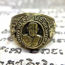 Size 8 Magic Occult Ring LP Tuad Brass Thai Buddha Amulet Talisman Power Lucky