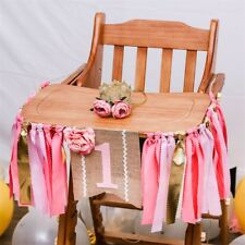 Pink Flower Girls High Chair Banner Baby First One 1st Birthday Party Photo Prop
