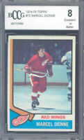 1974-75 topps #72 MARCEL DIONNE detroit red wings BGS BCCG 8
