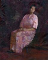 """Russischer Realist Expressionist Öl Leinwand """"Sitzende"""" 47x37 cm"""