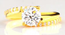 Top Design Round Shape Real 14KT Yellow Gold 2.60CT Solitaire Engagement Ring