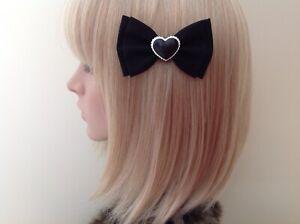 Black heart hair bow clip rockabilly pin up girl kawaii kitsch gothic white cute