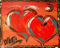 HEARTS  original oil painting TEXTURED MODERN ABSTRACT UNIQUE SRTHRETH