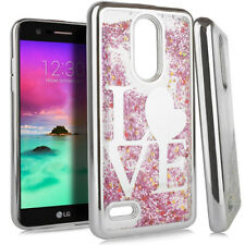 For LG K30 / K10 2018/Premier Pro - Silver Love Glitter Hearts Liquid Case Cover