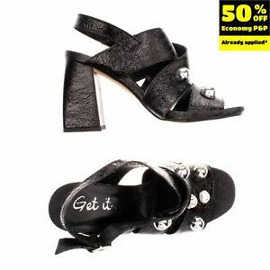 RRP €160 GET IT Leather Slingback Sandals Size 37 UK 4 US 7 Beads Made in Italy