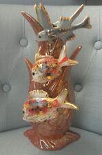 Vaso ceramica pesci di G. Girardi tipo Lenci Ronzan Tosin Lagorio