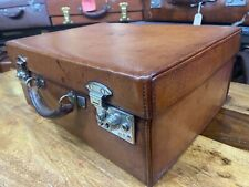 VINTAGE quality antique leather overnight suitcase with dust jacket by BRAMAH