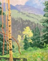 Gold Aspen Mountains Fall Color Western Impressionism Art Oil Painting Landscape