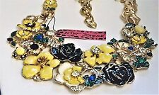BETSEY JOHNSON FIELDS OF FLOWERS STATEMENT NECKLACE BLACK ROSES, CRYSTALS G/T