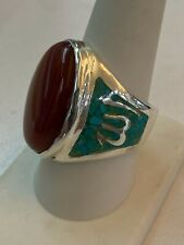 Islamic Muslim Akeek(Carnelian) Ring in Sterling Silver with turquoise inlay