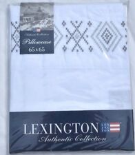 LEXINGTON AUTHENTIC COLLECTION EMBROIDERED SQUARE PILLOWCASE WHITE / GREY