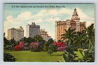 Miami FL, Bayfront Park & Biscayne Boulevard Hotels, Florida Linen Postcard