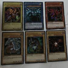 YUGIOH CARD BUNDLE, GOD CARDS, DARK MAGICIAN, BLUE-EYES WHITE DRAGON, RED EYES B