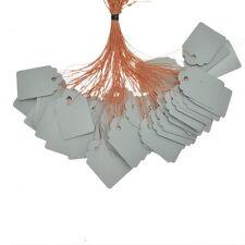 GS: 100 PVC Preisschild Etiketten mit Faden Grau 36x25mm