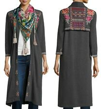 $290 JOHNNY WAS REBEKAH EMBROIDERED LONG COAT JACKET GREY FLORAL SZ M  NWT
