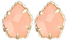 Kendra Scott Tessa Gold Plated Stud Earrings in Pink Rose Quartz