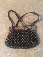 Vera Bradley Black Flora Hand Bag/tote/purse