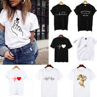 Sleeve Blouse Heart Casual Short T Shirt Ladies Fashion Tops Tee Printed Women