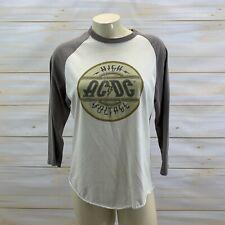 ACDC Shirt XS Australian Tour 1975 Voltage Baseball Tee Raglan Sleeve Gray B105