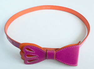 ALANNAH HILL PURPLE AND ORANGE LEATHER SKINNY WAIST BELT 23 to 27 inches