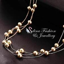 18K Rose Gold Plated Elegant Shiny Gold Triple Chains Pearl Strand Necklace