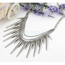 Womens Chunky Punk Silver Spike Rivet Tassel Chain Choker Collar Bib Necklace
