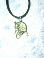 "DETAILED KING OF EGYPT PHAROAH PROFILE HEAD PEWTER PENDANT 18"" BLK NECKLACE"