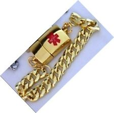 Medical Alert Device Key2Life Gold-Tone Bracelet 8in