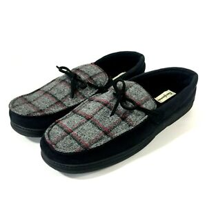 Dearfoams Mens Microsuede Moccasin Slippers XL 13-14 Gray With Plaid Lining