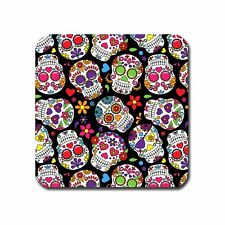 Black Day of the Dead Skulls single coaster or set of 4 Mug Coffee Tea Wine Gift