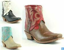 Women's Square Toe Faux Leather Turndown Embroidered Ankle Boots Pull Ons Jin20