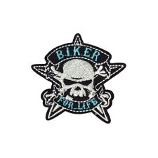 Biker For Life Skull (Iron On) Embroidery Applique Patch Sew Iron Badge