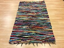 Multi Colour Blue Handwoven Rag Rug Funky Recycled Mix Textures 110x180cm 50%OFF