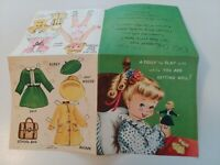 1950s Vtg PAPERDOLL UNCUT PAPER DOLL & CLOTHES Get Well GREETING CARD
