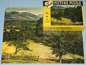 """VINTAGE GUILD PICTURE PUZZLE JIGSAW """"STEEPLE IN THE MOUNTAINS"""" CHURCH VALLEY CIB"""