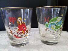 "Jungfrau Fisch Zodiac Glass Cup 3""H Set of 2 Vintage"