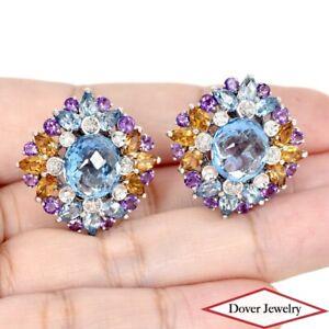 Diamond 22.26ct Blue Topaz 18K Gold Large Multi Gemstone Cluster 20.1 Grams NR