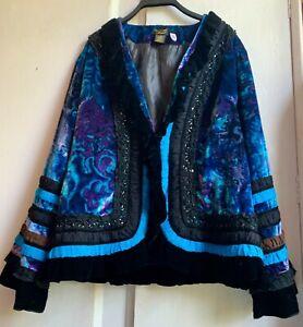 Stunning *DREAM KEEPER* Jewel Colours Silk Velvet Beaded Ruffle Boho Jacket L