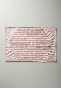 "Anthropologie Brooklyn Cotton Bath Mat Purple Lavender White 34"" x 21"" HTF New"