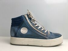 Pataugas Women's Blue Leather Mid Top Trainers UK Size 7