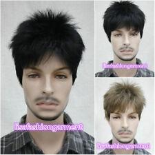7 colors Man Men Short Menfolk Male Daily Wear Natural Hair Full wigs+Wig cap