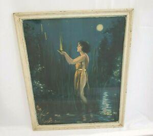 Woman in Moonlight Pond - Bertram Basabe - Art Deco Framed Print 16 in x 20 in
