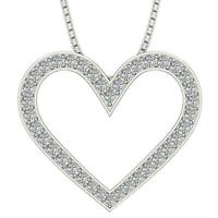 Heart Pendant Necklace Natural Round Cut Diamond VS1 E 1.05 Carat 14K White Gold