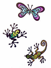 Butterfly frog gecko temporary Tattoo boys girls 1 sheet  TY0271
